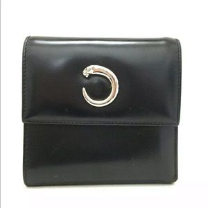 Cartier Panther Black Leather Bifold Wallet